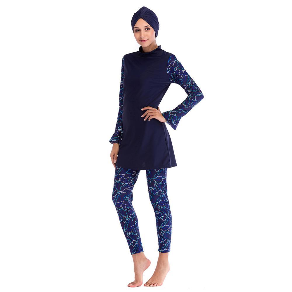 2019 Muslim Swimwear Women Modest Patchwork Hijab Long Sleeves Sport Swimsuit Islamic muslimah Burkinis Wear Bathing Suit in Muslim Swimwear from Sports Entertainment