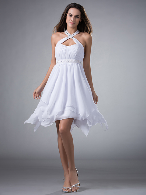 f30529ff9 2017 New Inexpensive Short Cute Party White Chiffon A Line Halter High Low  With Straps Juniors