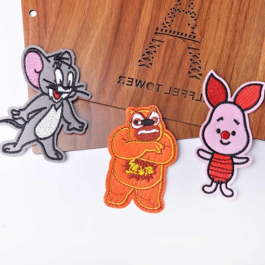 Nakış yama çıkartmalar çocuklar için karikatür bez çıkartmalar küçük kedi fare nakış termo yapışkanlı giyim etiketleri