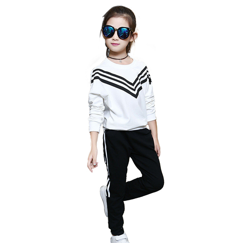Tribros  Autumn Winter  Baby Striped 2pcs/set Kids Cotton Printed School Tracksuit Uniform Sport Suit Girls Clothing Sets above the snowline