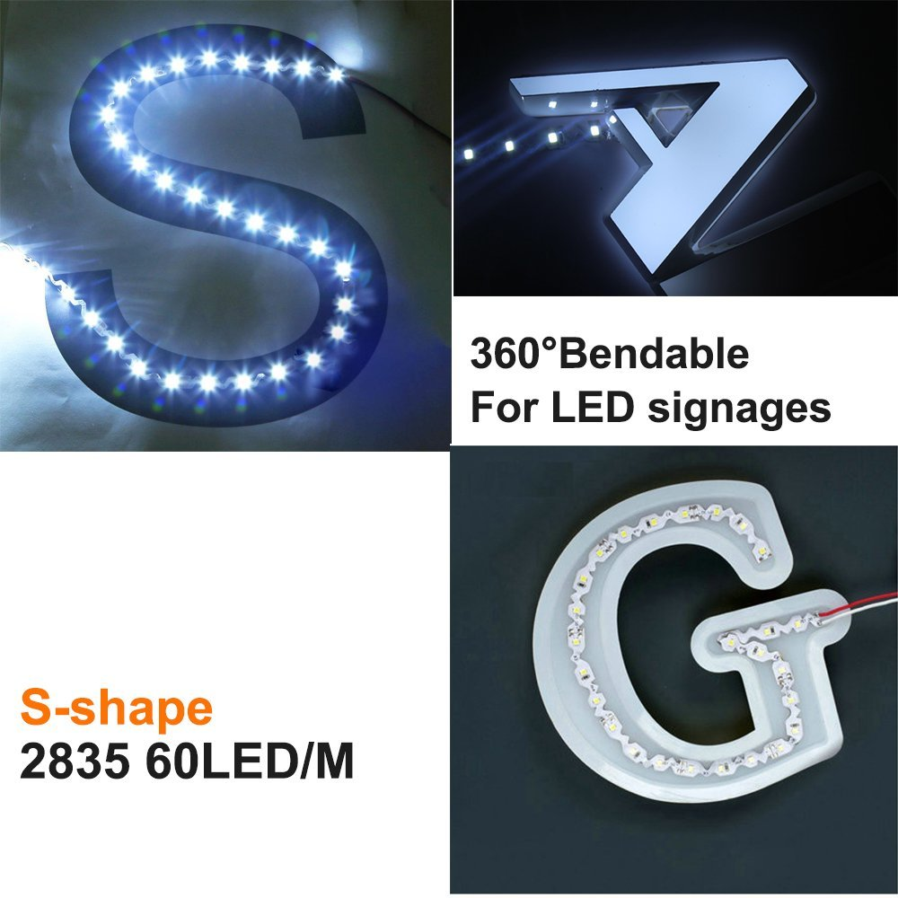 2.5M/8.2ft SMD2835 S shape LED Strips DC12V 150LEDs Flexible Bendable LED Tape 60LEDs/M 12W/M 6mm Wide White PCB