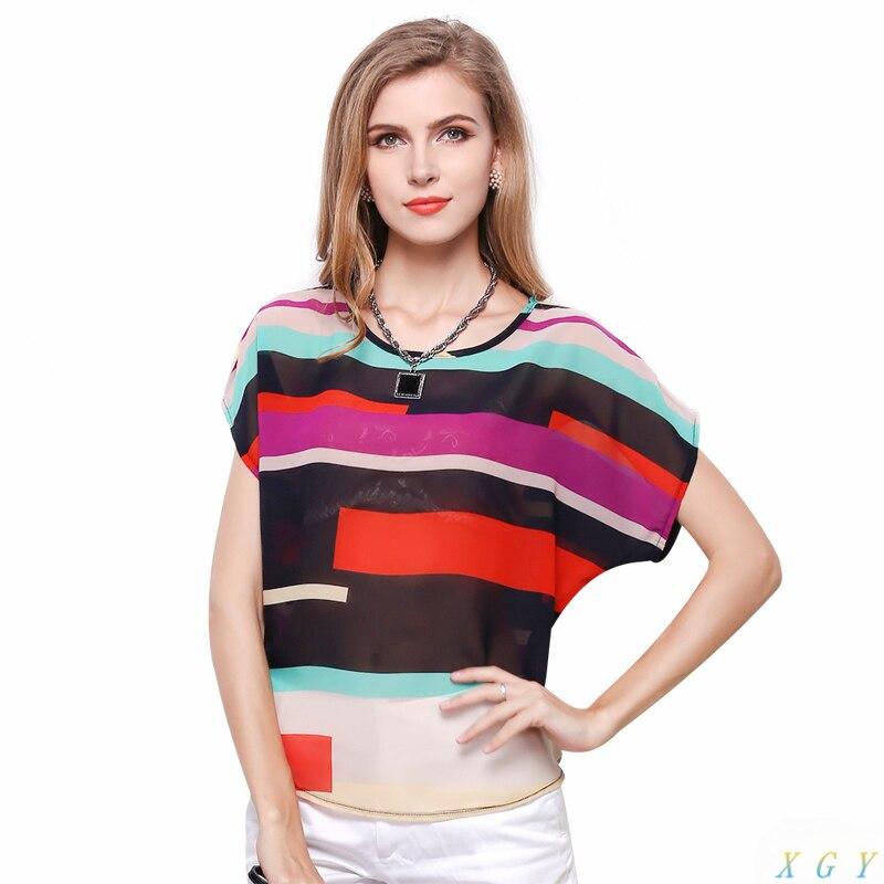 New Women Fashion Striped Chiffon Blouse Multi Color Print Shirts Loose Short Sleeve Casual Femininas Plus Size Blusas Tops