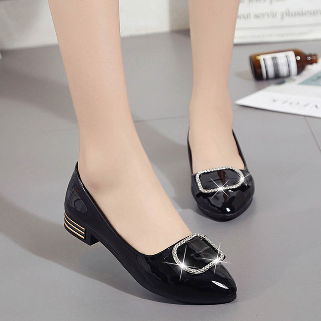 Solid Crystal Square Fashion Womans Heel Shoes female Casual Pointed Toe Shallow ladies Leather shoes zapatos mujer taconSolid Crystal Square Fashion Womans Heel Shoes female Casual Pointed Toe Shallow ladies Leather shoes zapatos mujer tacon