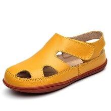 Top Qiality Enfants Sandales En Cuir Véritable Enfants Chaussures Découpe Respirant Appartements Sandales Pour Garçons Filles D'été Sandale