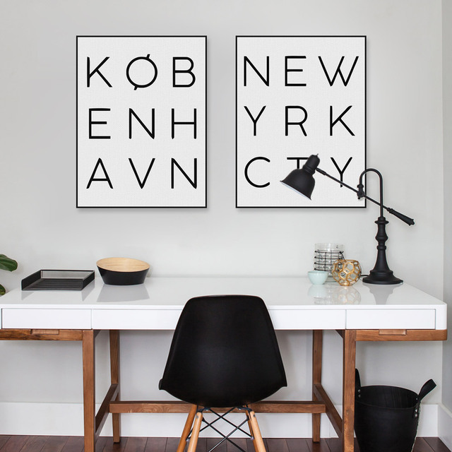 Modern Black White New York City Typography Poster Nordic Minimalist ...
