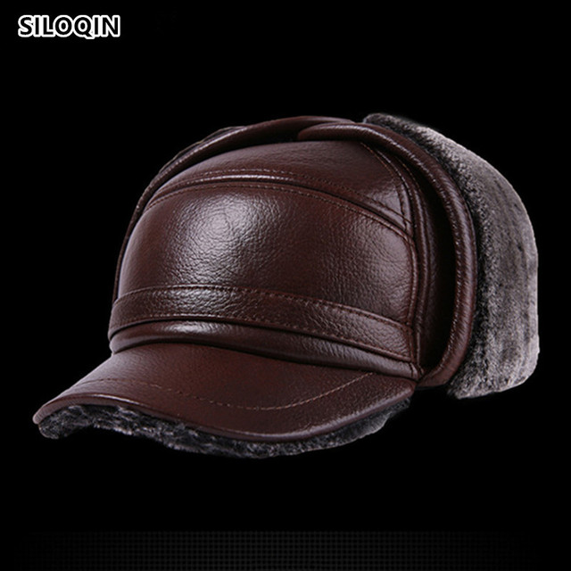SILOQIN Genuine Leather Hat Middle Old Aged Winter First Layer Cowhide Thicken Baseball Cap Keep Warm Earmuffs Male Bone Dad Hat
