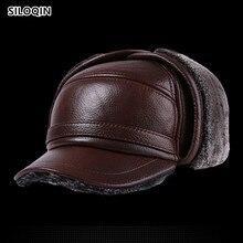 SILOQIN Lederen Hoed Midden Oude Leeftijd Winter Eerste Laag Koeienhuid Dikker Baseball Cap Warm Houden Oorbeschermers Mannelijke Bone Vader hoed