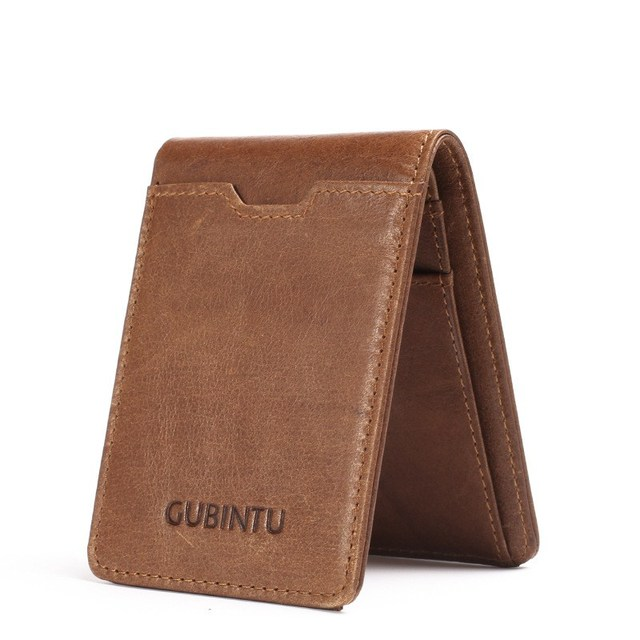 2019 Vintage Cow Genuine Leather Wallet Male Men Slim Thin Mini Wallet Male Small Purse Credit Card Holder Pocket Male Wallets