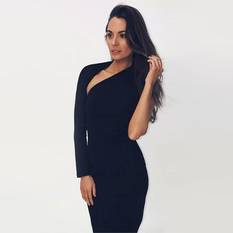 InstaHot One Shoulder  Knee Length Dress Women Autumn Black Scoop Back Dresses Elegant Female Sexy Club Slim Skinny