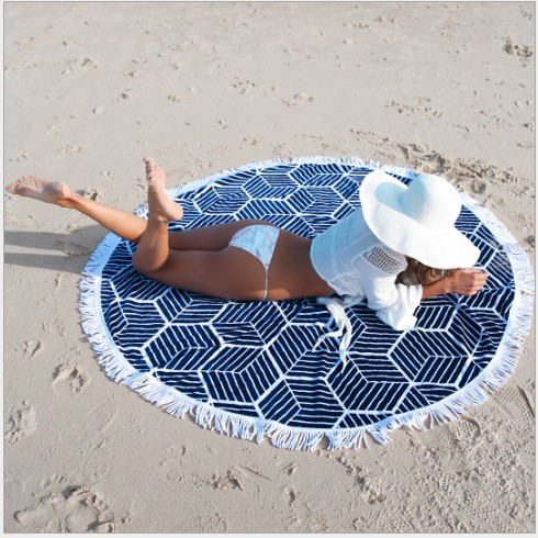 New Tassel Beach Mandala Indian Round Cover Up Beach Towel Beach Mat Shawl Yoga Mat Summer Letter Sarong Cloak