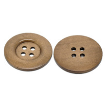100Pcs Coffee Round Wood Sewing Buttons 4 Holes For Sweater Overcoat Wooden Scrapbook Ornaments Making 5cm