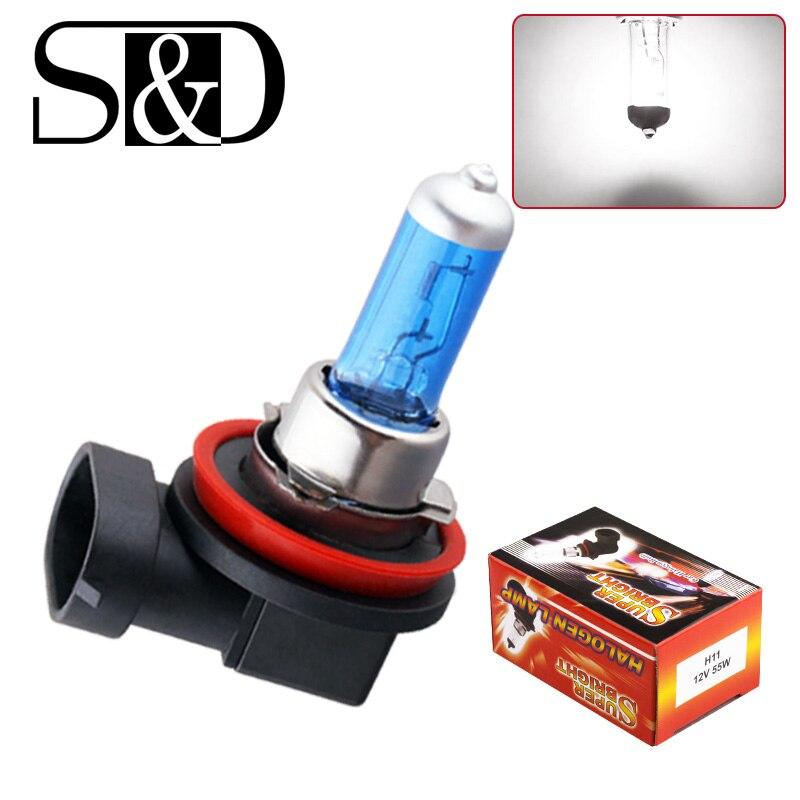 2 шт. H8 H9 H11 55W 12V Супер белый галогенные лампы туман светильник отличается высокой Мощность лампа фары автомобиля светильник s лампа автомоби...
