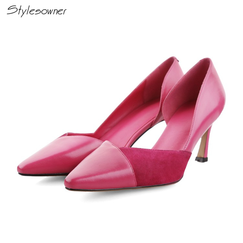 Stylesowner Slip On Pointed Toe Genuine Leather Sexy Women Pumps Patchwork Hoof High Heels Shoes One Side Open Wedding Shoes newest flock blade heels shoes 2018 pointed toe slip on women platform pumps sexy metal heels wedding party dress shoes