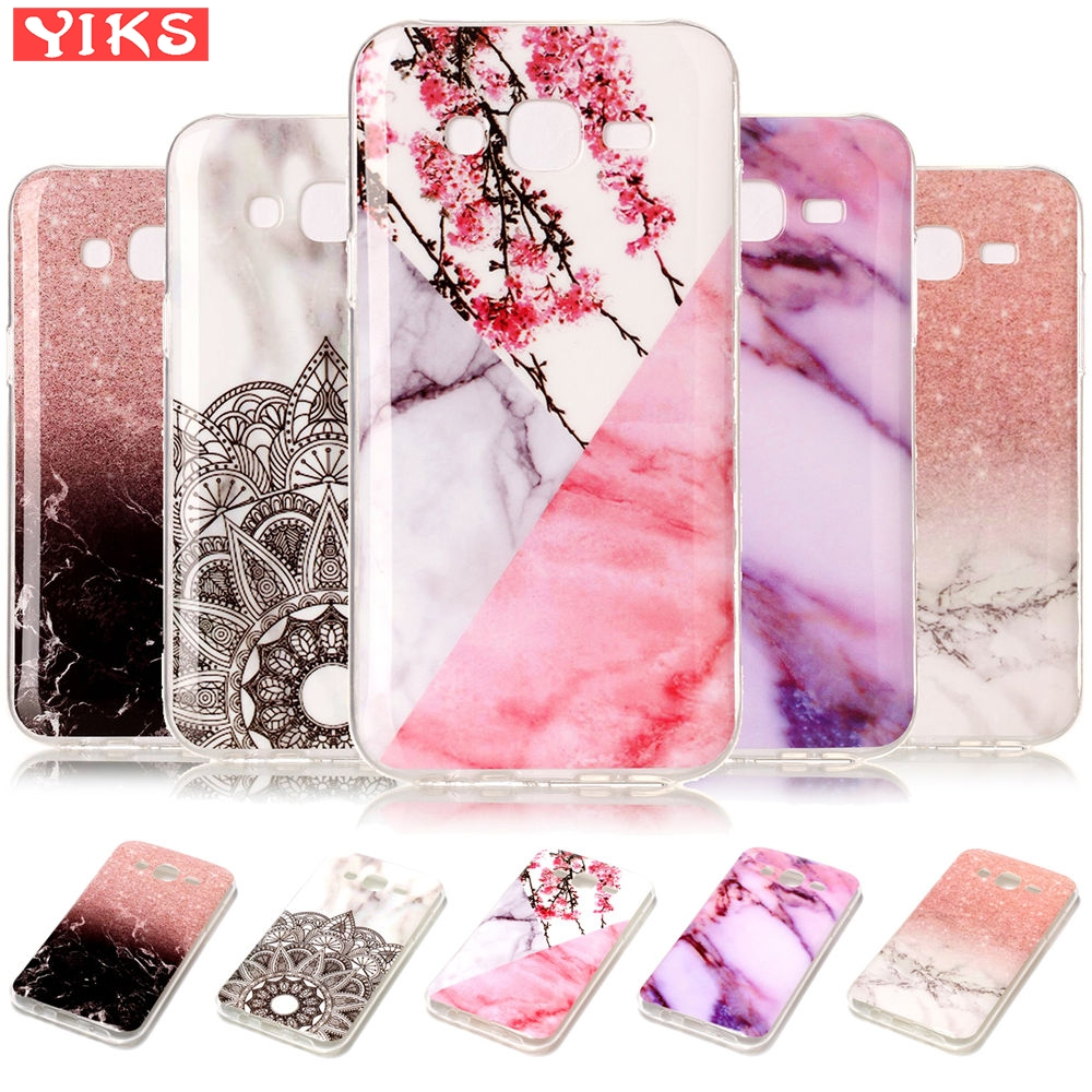 Soft Flower Case For <font><b>Samsung</b></font> Galaxy J7 2015 Glossy Marble Silicone Case For <font><b>SM</b></font> J700 J700 J700F <font><b>J700H</b></font> Protective Back Cover Girl image