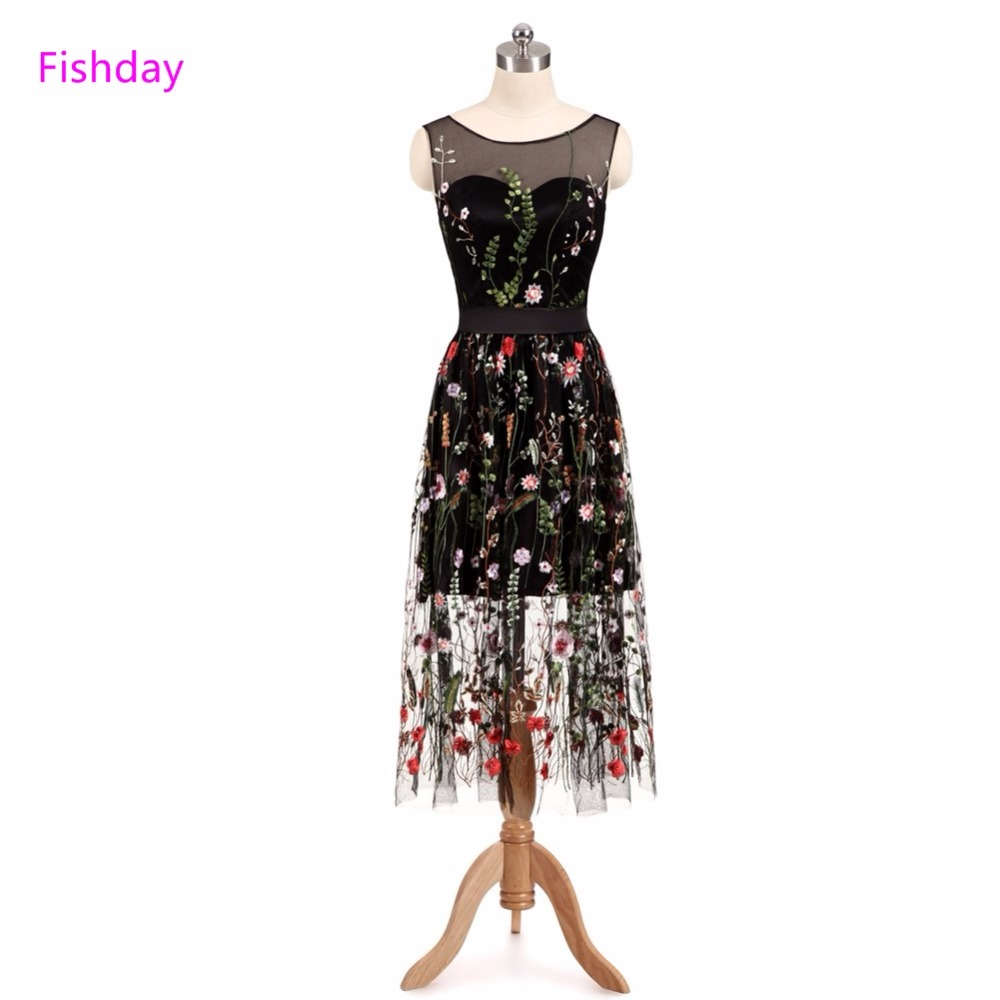 CEEWHY Elegant Prom Dress Floral Embroidery Formal Evening Gown Robe ...