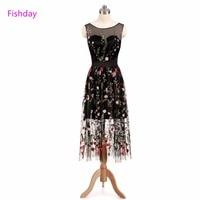 Fishday שמלות ערב שמלות רקמת פרחים שחורה לראות דרך המפלגה Junior חג המולד רשמי מיובא סקסי Abendkleider B20