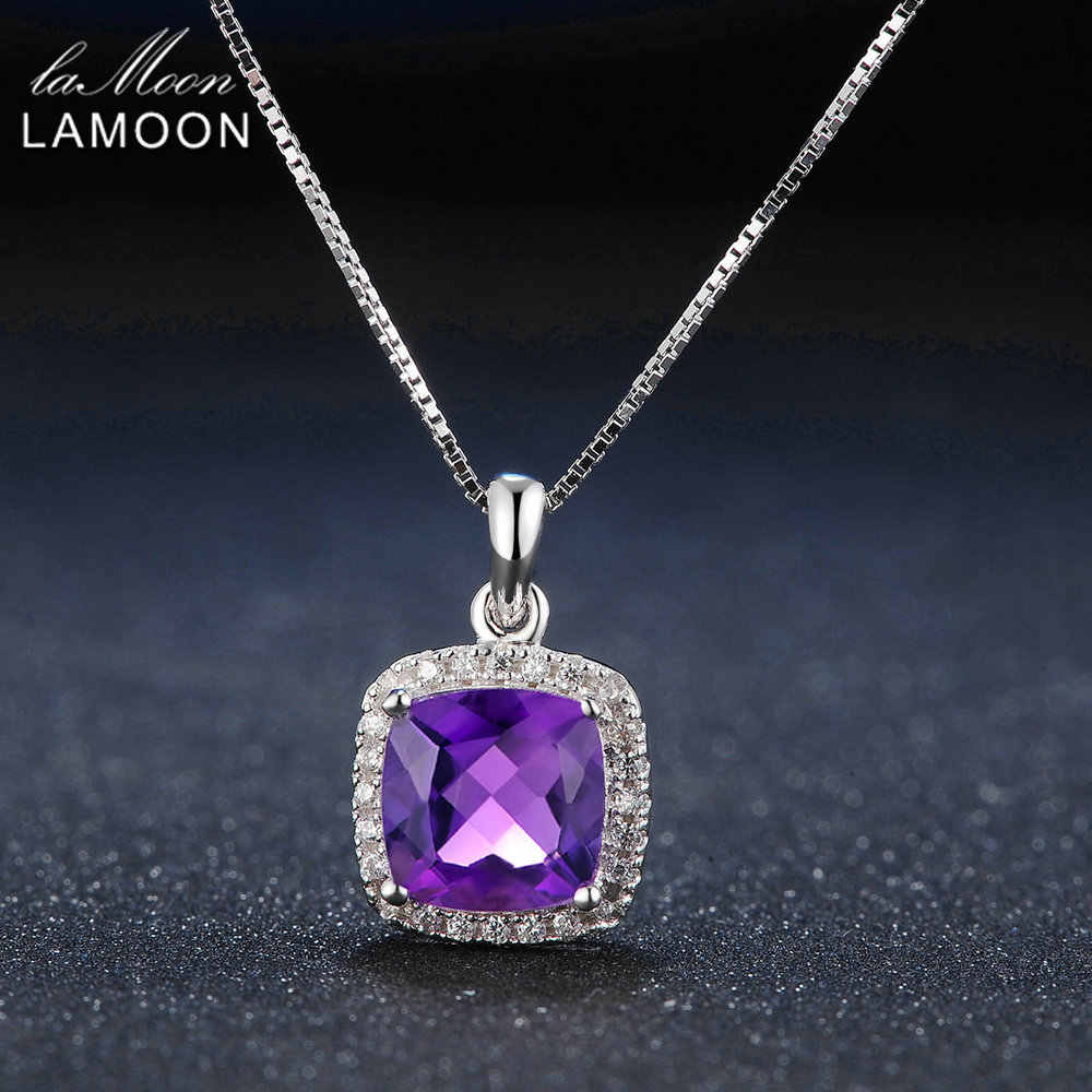 Lamoon 925 Sterling Silver Necklace Natural Amethyst Gemstone Pendant Jewelry Real Gold Plateld Chain Luxury Necklaces LMNI045
