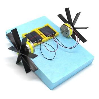 Puzzle Assembled Kits Solar Energy Science Experiment Kids DIY Solar Energy Wheel Paddle Ship Toys Physics Teaching Resources Physics