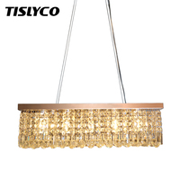 Clear K9 Crystal Chandelier Dining Room Light Fixtures Polished Chrome Finish Modern Rectangle Chandeliers L31.5''xW9.8''xH8.9''