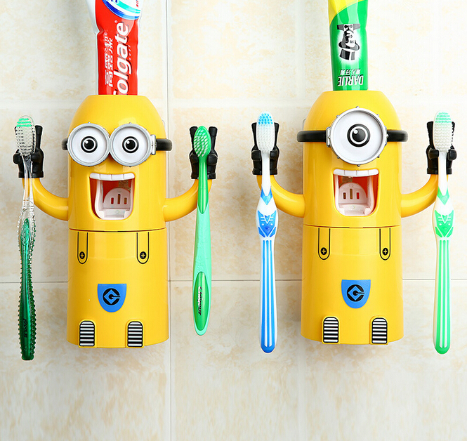 minion bathroom set. 2015 New Minions Style Automatic Toothpaste Dispenser Squeezer Toothbrush  Holder Cup Bathroom Household 3 in 1 Gift for children Accessories