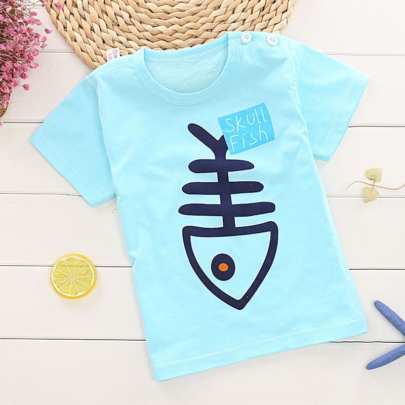 Children's short-sleeve T-shirt for Boy/Girls 2-9 years Teens childish cotton Character Fishbone Zebra donkey kids Tops Tee