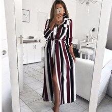 Turn-Down Collar Button Lace Up Long Shirt Dress