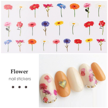 HNUIX 3D embossed nail sticker flower adhesive DIY manicure slider nail art tips decorations decals 1pcs 3d nail sticker colorful glitter flower geometry new slider for manicure decoration tips nail art adhesive decals