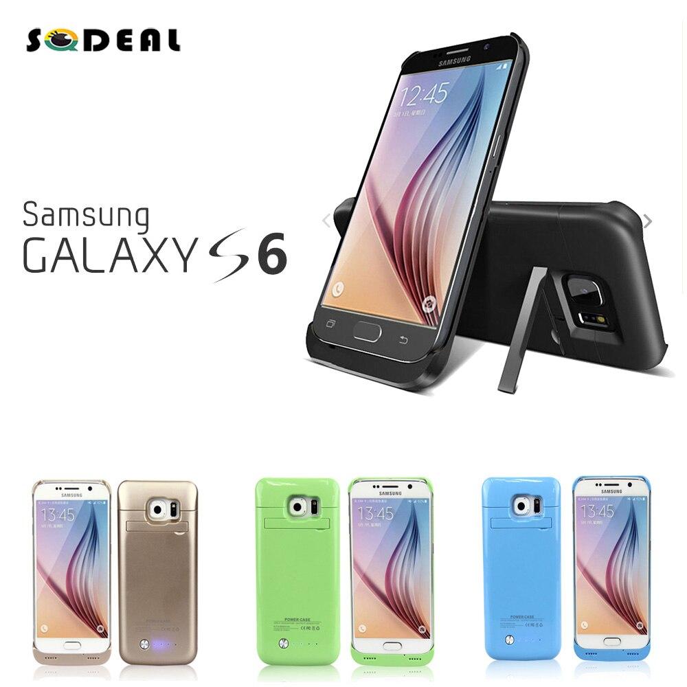 bilder für Tragbare Wiederaufladbare Externe Unterstützungsbatterie Energienbank Power Fall mit Ständer für Samsung Galaxy S6/S6 rand Ladegerät Fall