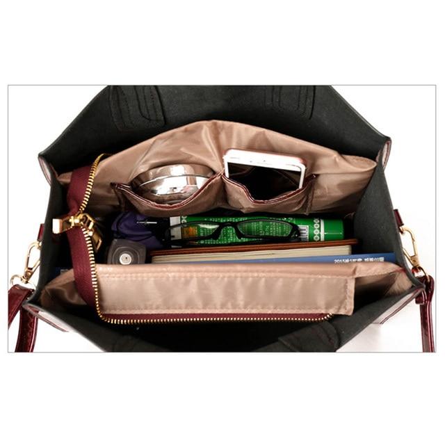 Brand 3 Sets Women Handbags High Quality Patent Leather Female Messenger Bag Luxury Tote+Ladies Shoulder Crossbody Bag+Clutch 3