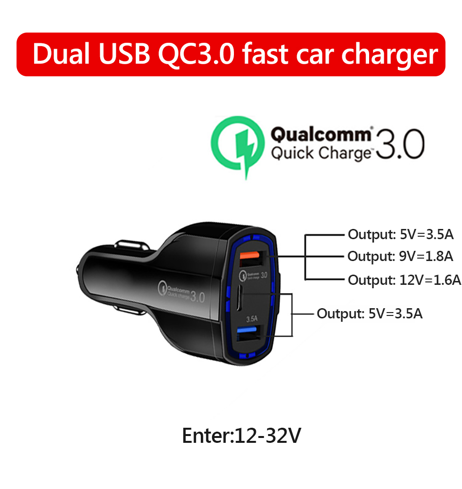 !ACCEZZ Universal Mini Double Port USB QC Car Charger Quick Charge 3.0 2.0 With LED Fast Type-C Car Phone Charger For Samsung S8 (1)