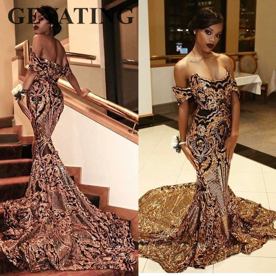 0c1ebaa83ef1 2019 Luxury Gold Sequins Black Girls Prom Dresses Mermaid off shoulder Sexy  African Evening Party Gowns