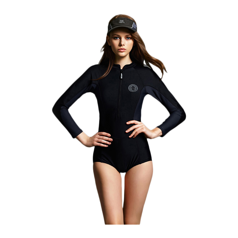 2017 New Women Sexy Front Zipper Swimsuit One Piece Sport Bathing Suit Long Sleeve Swimwear Surf Rashguard Beach Wear sbart women long sleeve rashguard one piece swimsuit shirt brief swimwear vintage bathing suit summer beach wear padded swimming