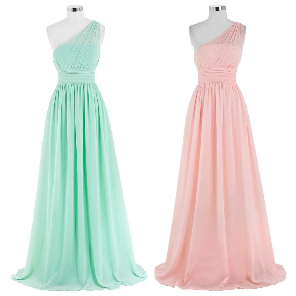 Kate Kasin Mint Green Bridesmaid Dresses Long Wedding Party Dresses One Shouler Bruidsmeisjes Jurk Pink Bridemaid Dress 0200 5