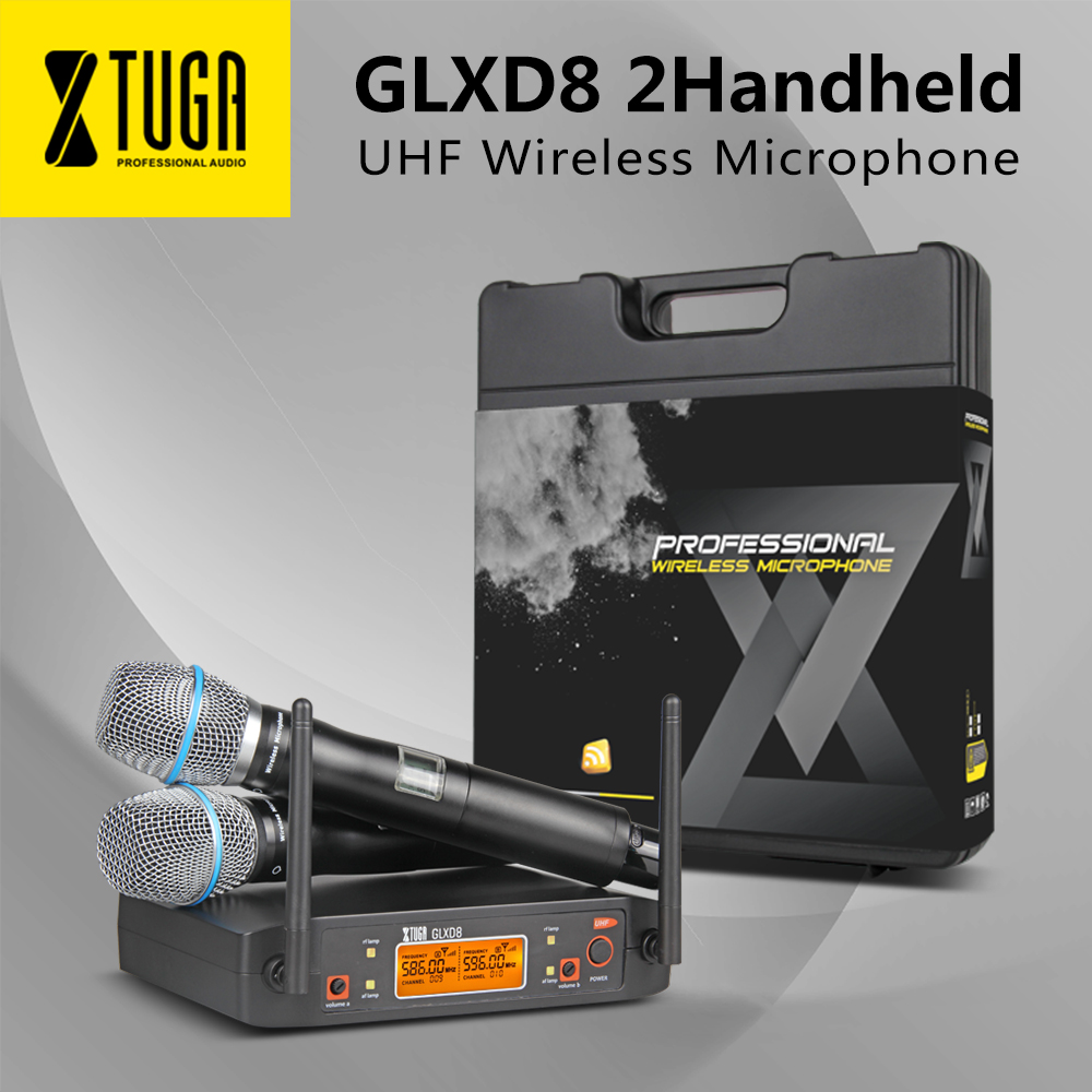 XTUGA Portable UHF Microphone System With Carry Case 2 Metal Handhled MIC BOX Cordless Wireless For Stage Church Wedding GLXD8