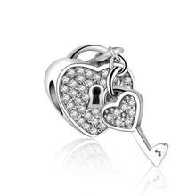 Браслет Pandora из стерлингового серебра 925 пробы подвеска любовь висячий замок из бисера проложить серебряные ювелирные изделия Perlina DIY Berloque