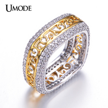 UMODE Brand Unique Design Square Filigree Wedding Band Rings For Women Two Tone Gold Plated Hot Sale Fashion Jewelry AUR0197