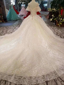 Image 2 - LSS206 샴페인 레이스 웨딩 드레스 2020 짧은 플레어 슬리브 섹시한 v 백 웨딩 드레스 우아한 11.11 글로브 쇼핑 축제