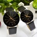 Relogio feminino Mulheres Amantes Homem Analógico Dial Hour Relógio de Couro Relógio De Pulso Reloj Mujer Rodada Caso Relógio de Tempo Digital Relógio de Presente