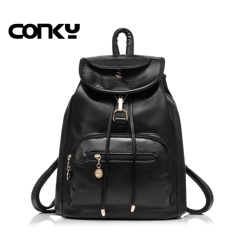 Black women backpack preppy style PU leather school bags for women retro vintage backpack students school