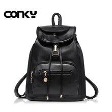Черные женские рюкзак в консервативном стиле Искусственная Кожа Школьные сумки для женщин в винтажном стиле, в стиле ретро рюкзак студенты школьная сумка рюкзак женский