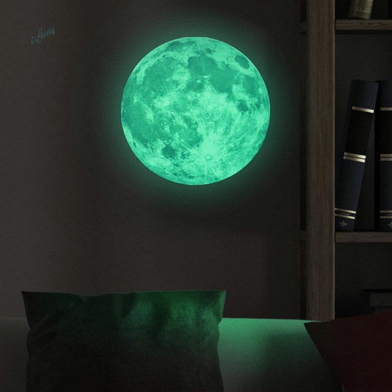 aliexpress com buy glowing moon wall stickers glow in funlife tm 50cm luminous moon wall sticker decals glow in