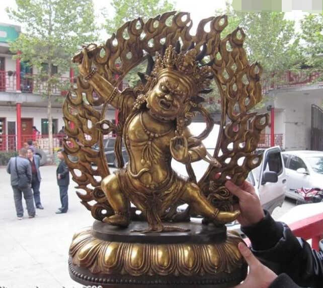 Detalhes sobre o Tibete Folk Budismo temple Bronze Gild R0717 Vajrapani Mahakala Estátua de Buda