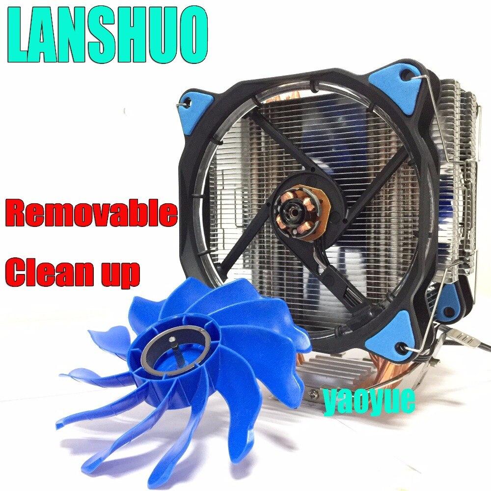 LANSHUO PC AMD Intel Processor cooling 12cm mm 6 Heat Pipe Heat Sink Radiator Fan LED