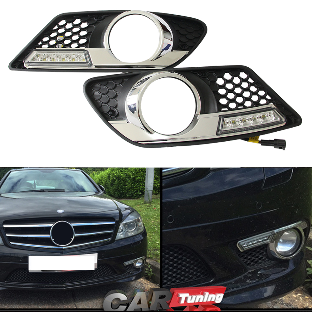 1Set car styling For Benz W204 C300 C350 2008 2009 2010 Sport LED DRL Daytime Running Lights Daylight Waterproof Fog Head Lamp car styling daylight for m ercedes b enz c200 c260 c300 2008 2010 car led drl daytime running light fog lamp