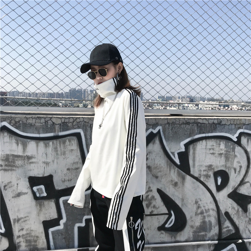 T-shirts Women Long Sleeve Turtleneck Striped Letter Embroidery Harajuku Womens Loose T-shirt Trendy Chic Korean Style All-match 10