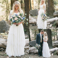 2018 Western Country Bohemian Wedding Dresses Lace Chiffon Modest V Neck Half Sleeves Long Bridal Gowns Plus Size Dress for Wed