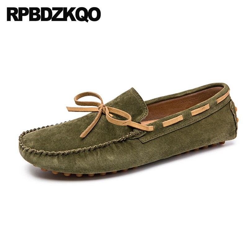Plus Size Inverno 47 Designer de Sapatos Casuais Rendas Até Mocassins Mocassins de Camurça Azul Marinho Europeu 46 11 Barco Homens Verdes personalizado Slip On