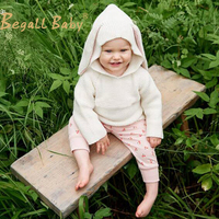2016 New Children Sweaters Rabbit Ears Boys Girls Sweater With Hooded Wool Cotton Knitwear Winter Infant