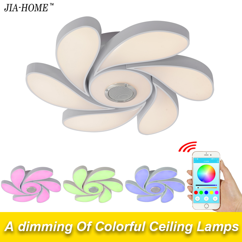 Bluetooth led ceiling lights for party living room with speaker and phone app control dome flush mount ceiling light fixtures led ceiling light multi color and dimmable with bluetooth app and sound speaker for living room bedroom room