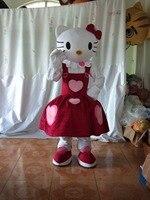Belle Blanc Chat Chaton De Mascotte Costume Noir Petit Yeux Jaune Nez Rose Jupe Chaussures Tête Ovale